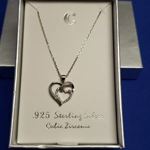 """925 Sterling Silver heart in a heart necklace 16"""""""